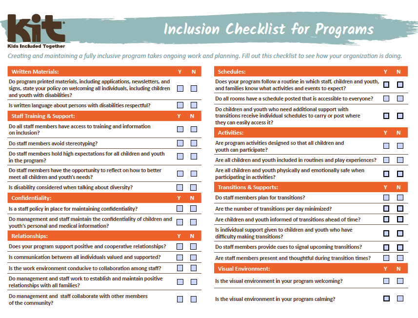 Page 1 of the Organizational Readiness Checklist, Source: Kids Included Together Inc.