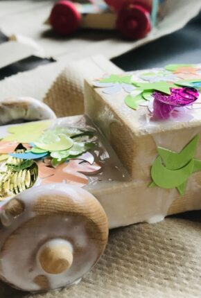 little wooden truck decorated