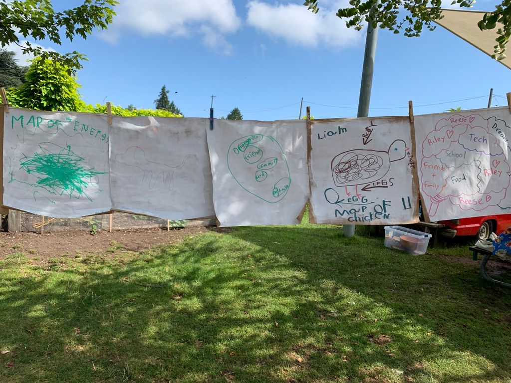 Kids art hangs on a clothesline at the PlayGarden Summer Camp