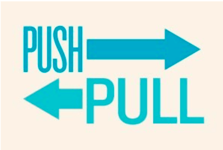 """The word """"Push"""" with an arrow pointing to the Right and the word """"Pull"""" with an arrow pointing to the Left"""